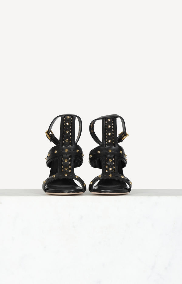 Sandaletten Studded in Schwarz/Gold