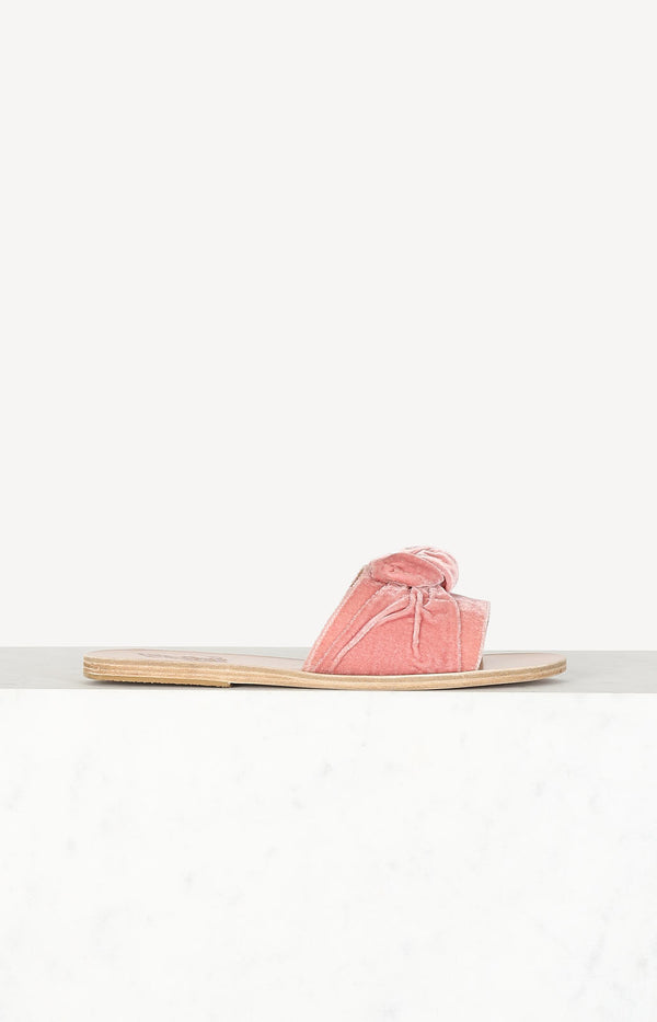 Taygete Bow sandals in Dusty Pink