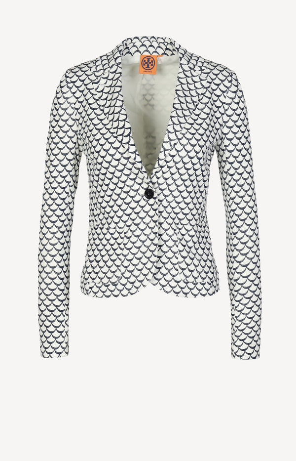 Slim blazer with print in blue / white