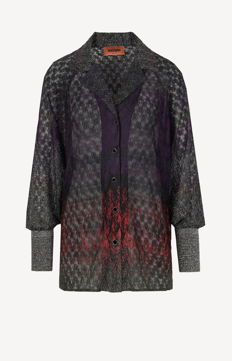 70s Bluse mit Print in Lila/RotMissoni - Anita Hass