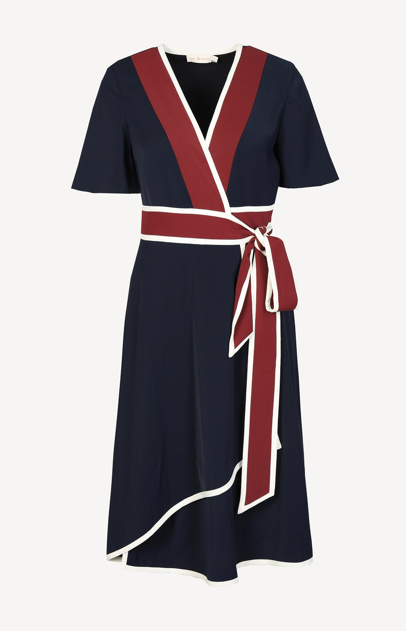 Kurzärmeliges Wickelkleid in Navy/Burgundy