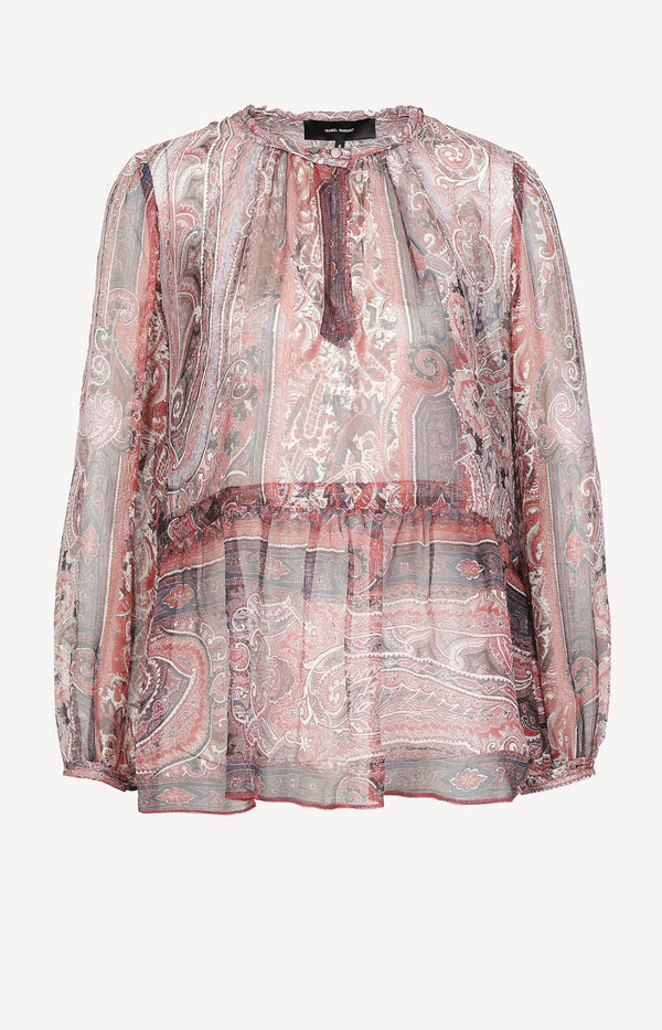Transparent silk blouse with paisley print