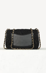 Filigree Flap Bag Quilted Tweed Medium CC in Schwarz