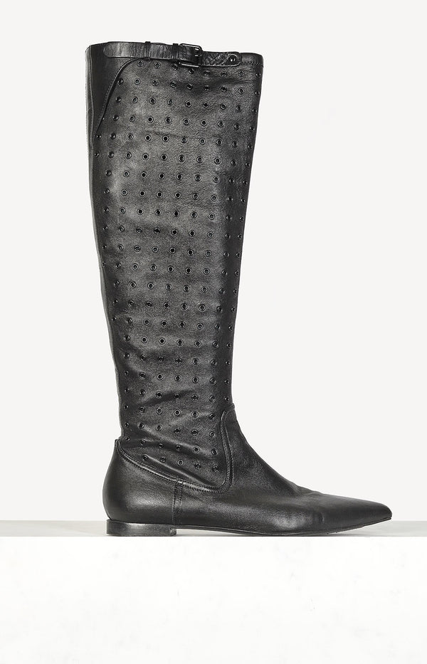 Lederstiefel High Knee in Schwarz