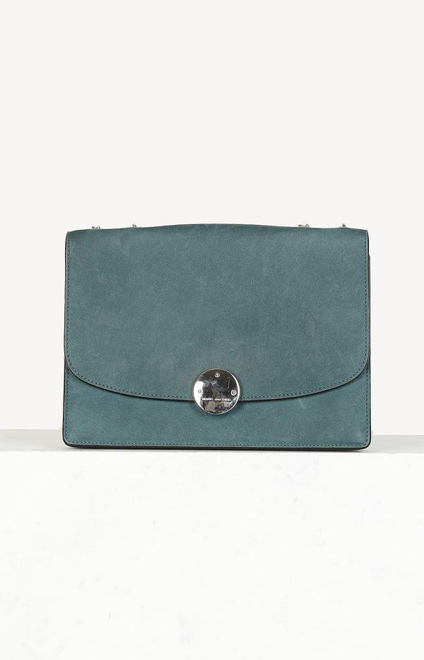 Suede flap bag in green