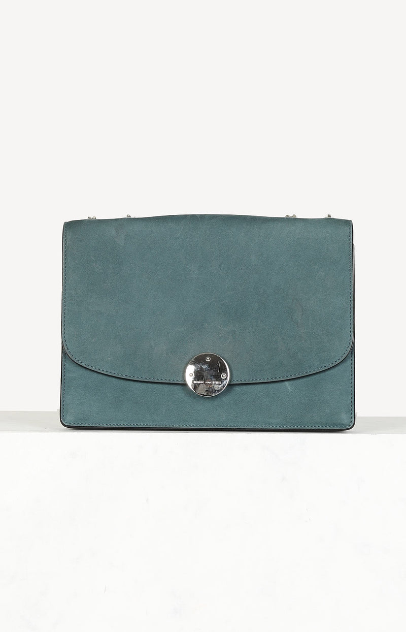 Suede Flap Bag in Grün