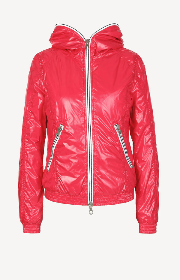 Down jacket in raspberry red