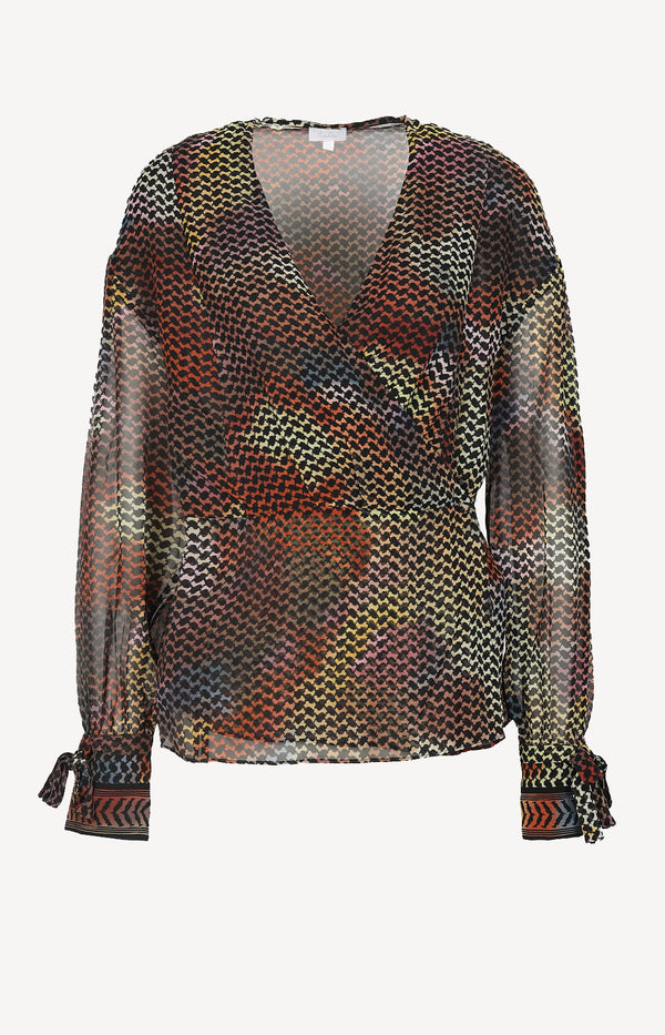 Wrap blouse made of silk in multi