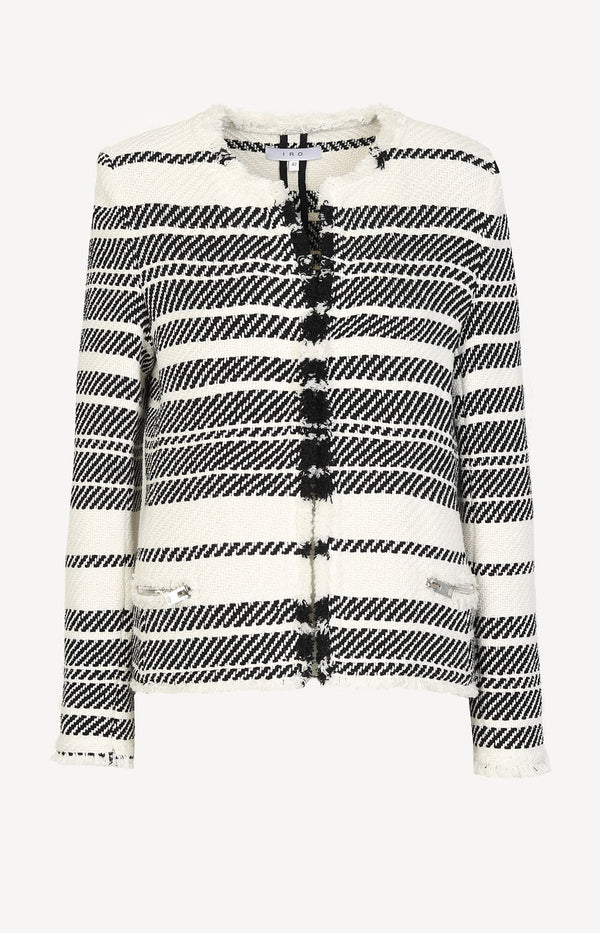 Szlata knitted blazer in black and white
