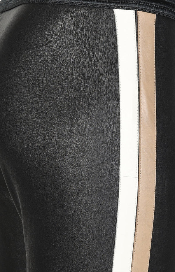 Leather leggings with side stripes