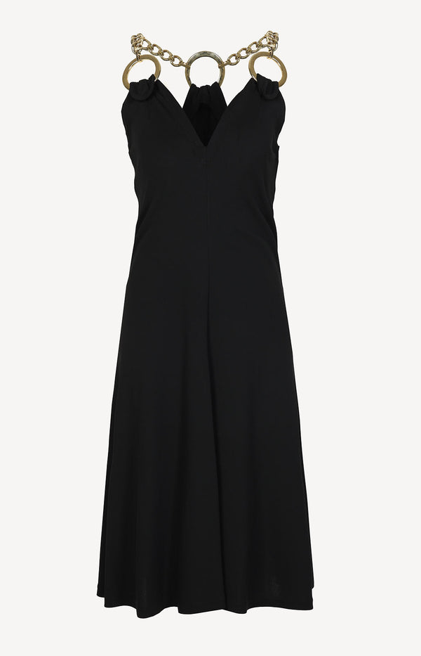 Dress with chain straps in black