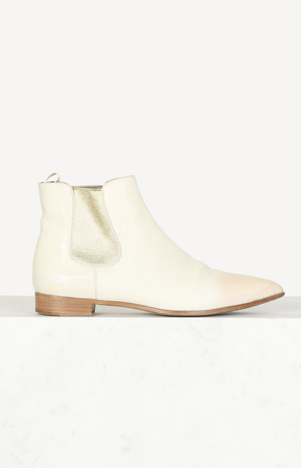 Chelsea Boots in Creme/Gold