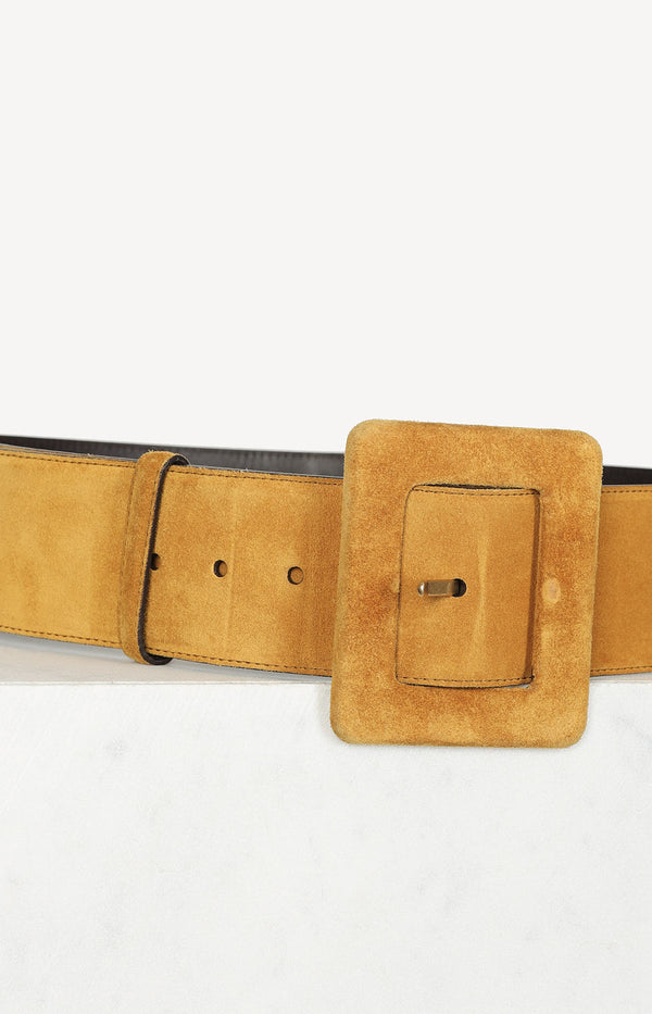 Suede belt in curry