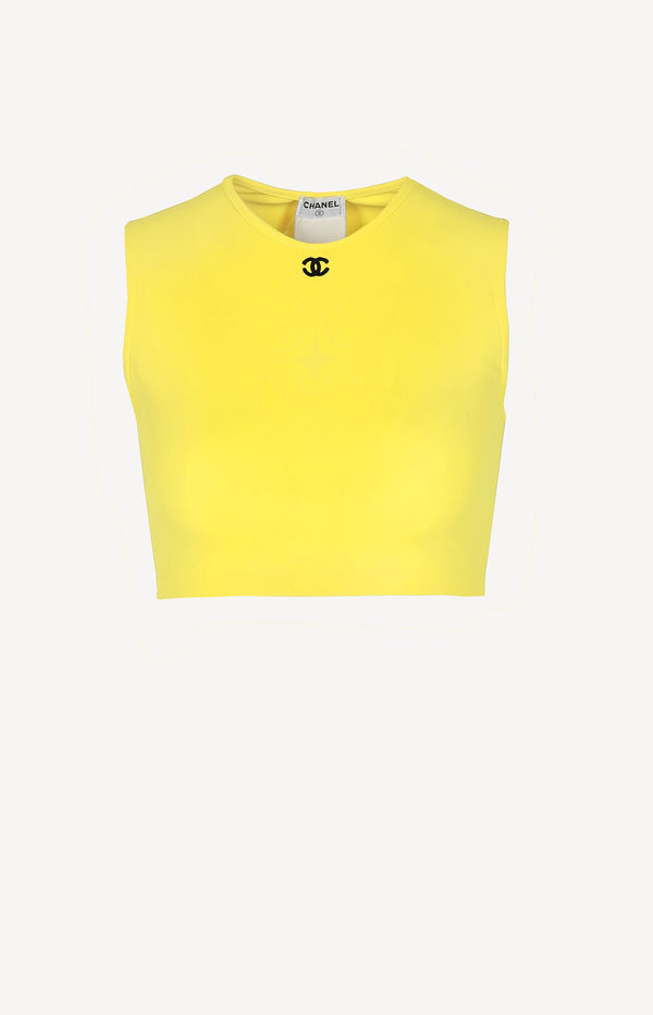 Crop Top in Neon-Gelb