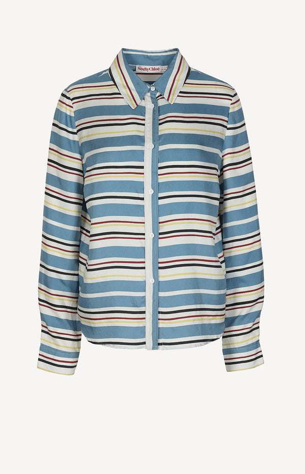 Striped blouse in blue / cream / red