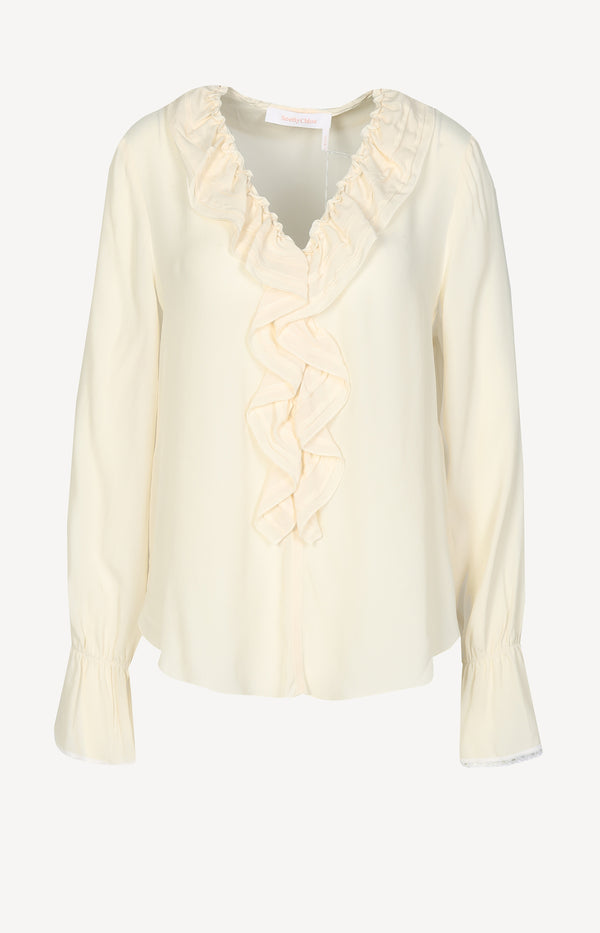 Bluse mit Volants in Natural White