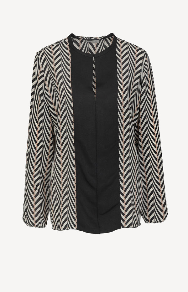 Silk blouse with zigzag print