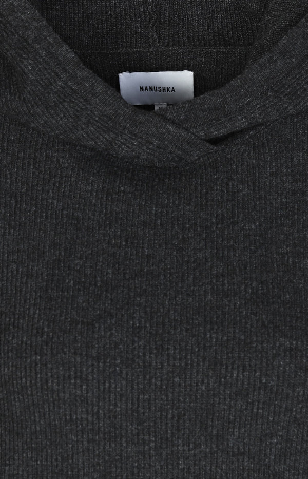 Cropped Sweater in Dark Grey Melange