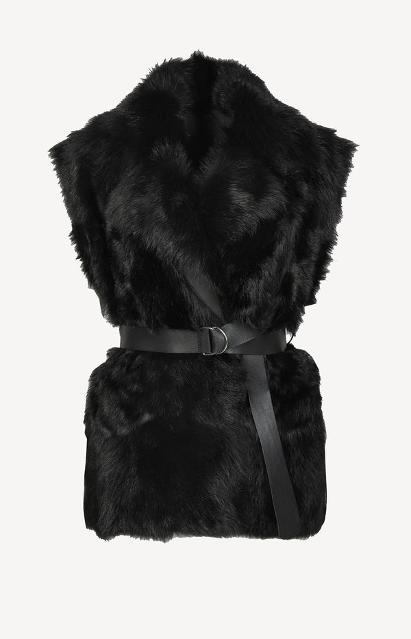 Tozac Reversible Shearling vest in black