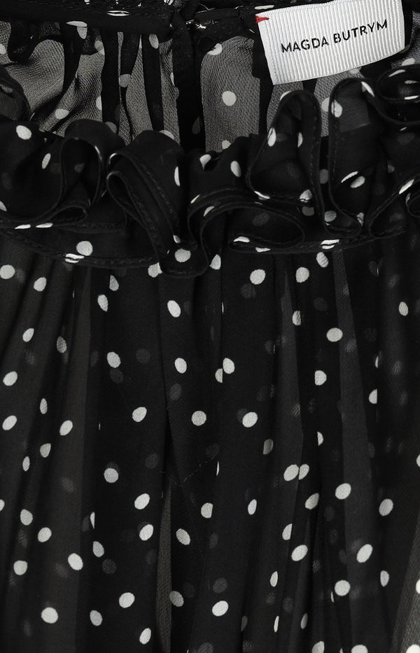 Silk blouse with dots in black and white