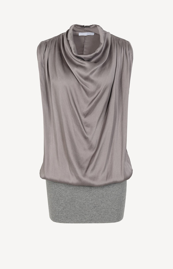 Silk dress with cashmere skirt in gray