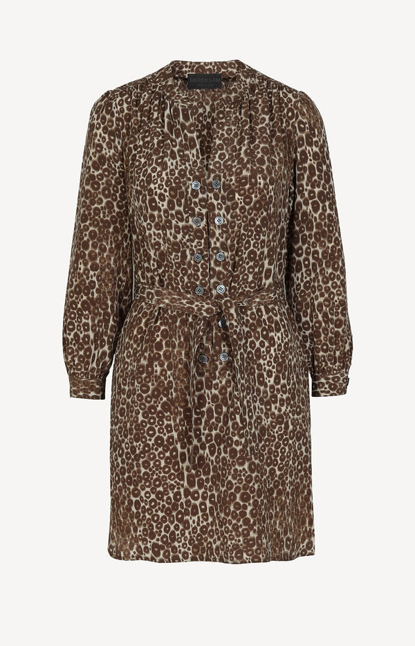 Silk dress with leopard print