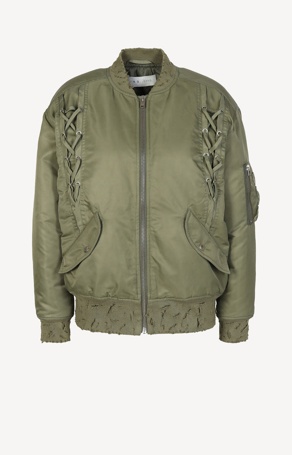 Bomber jacket with laces in khaki