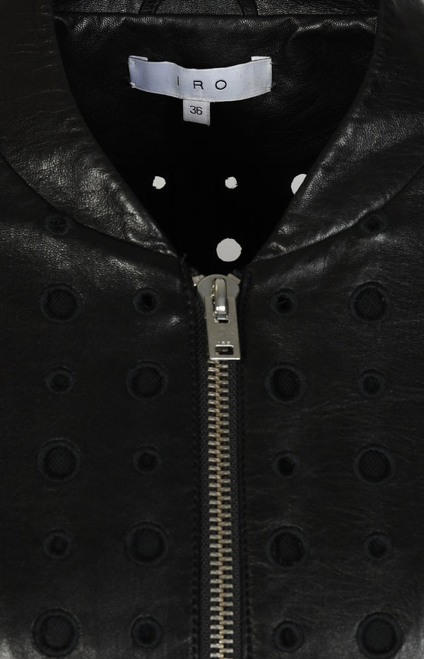 Leather jacket with cut-outs in black