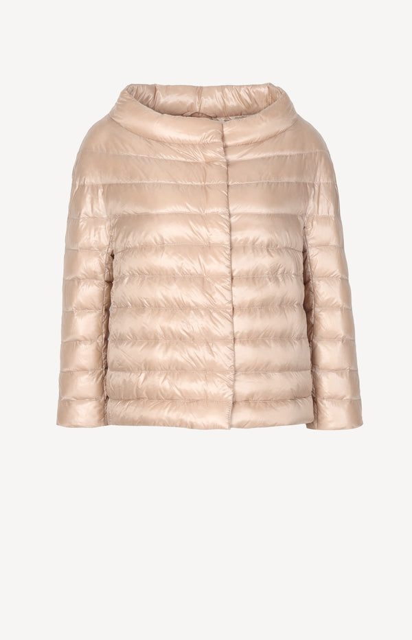 Shimmering down jacket in beige