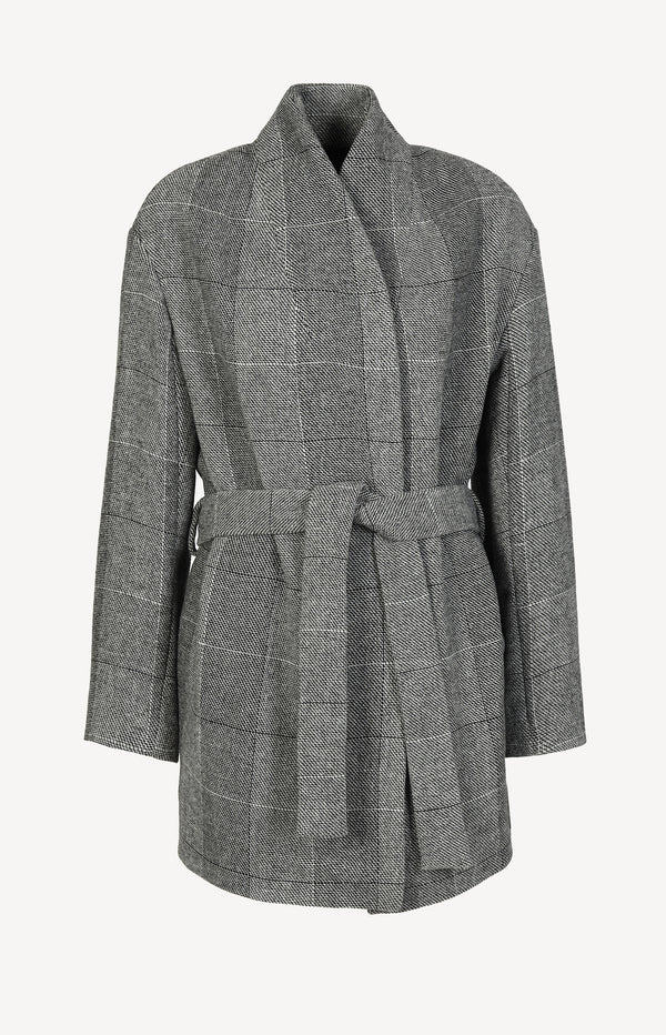 Short coat with belt in gray