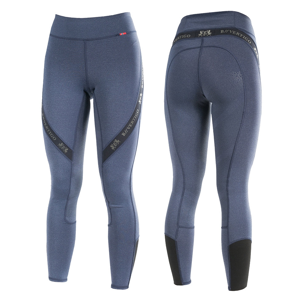 Horze Leah Silicone Full Seat Riding Leggings - Deep Blue