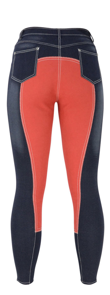 HyPERFORMANCE Denim Look Ladies Breeches - Red