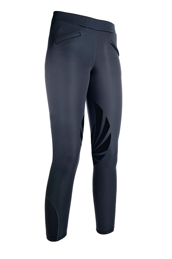 HKM Softshell Riding Leggings Heat Silicone Knee Pat -Grey
