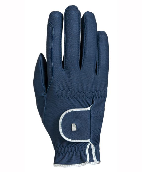 Roeckl Lona Roeck-Grip Riding Gloves - Navy/Silver