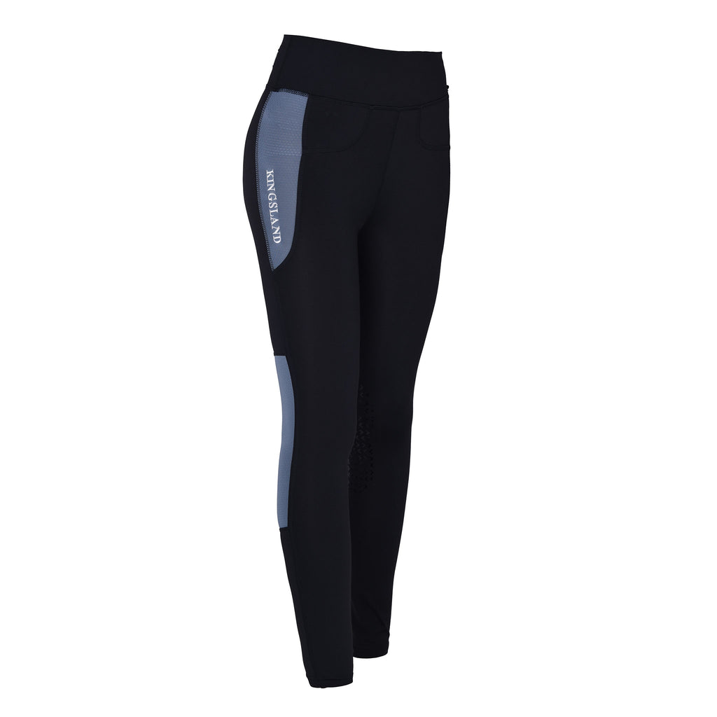 Karina F-Tec Knee Grip Compression Riding Tights - Blue Flint