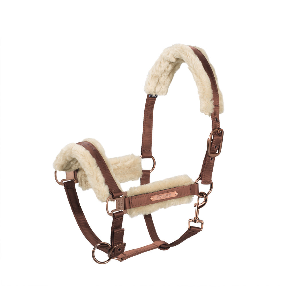 Eskadron Heritage Padded Fur Headcollar and Lead Rope - Copper