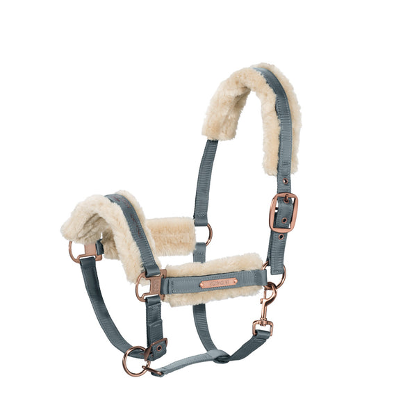 Eskadron Heritage AW 18/19 Padded Fur Headcollar and Lead Rope  - Ash Blue