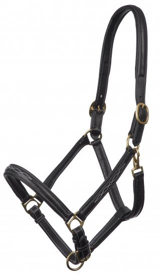 Embroidered Leather Headcollar Black