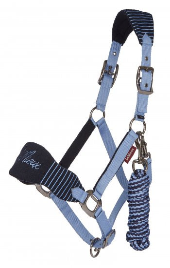 Vogue Fleece Headcollar With Leadrope Corn Blue Navy