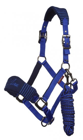 LeMieux Vogue Headcollar & Lead Rope - Navy/Royal Blue