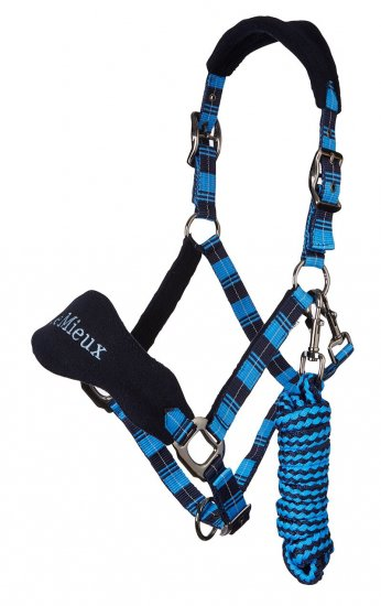 LeMieux Tartan Vogue Headcollar & Lead Rope - Sky Blue
