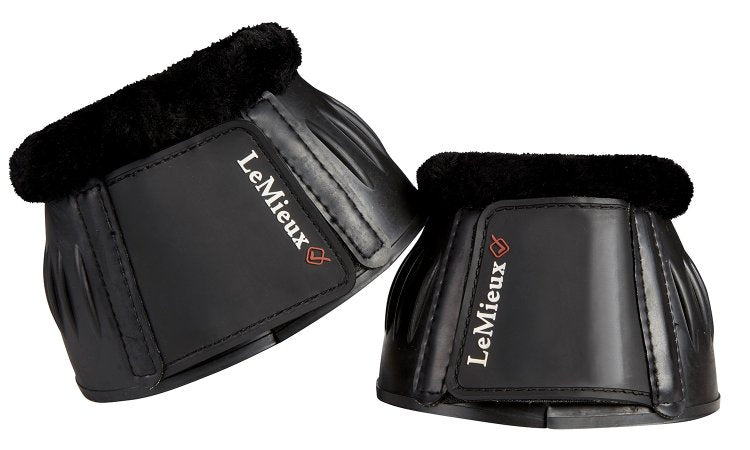 LeMieux Rubber Bell Boots Black With Fleece