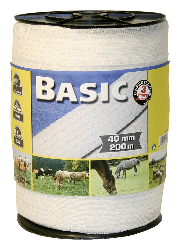 Corral Basic Fencing Tape 200m X 40mm - White