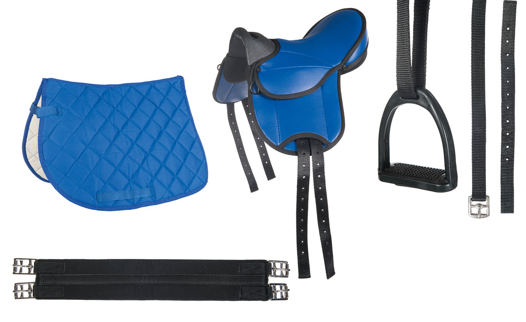 HKM Shetland Pony Saddle Set Beginner -Blue