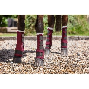 Four Seasons Leg Wraps Stable Boots - Burgundy