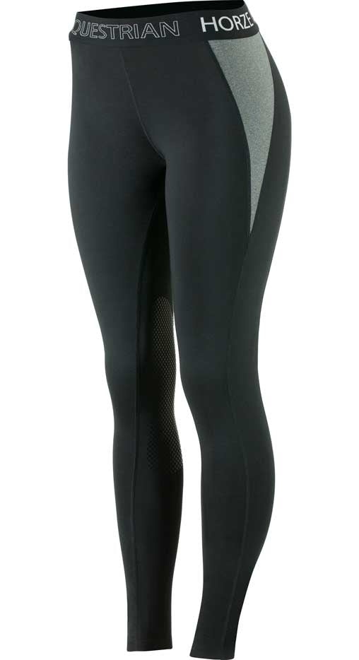 Horze Madison Silicone Knee Pull On Breeches - Black/Steel Grey