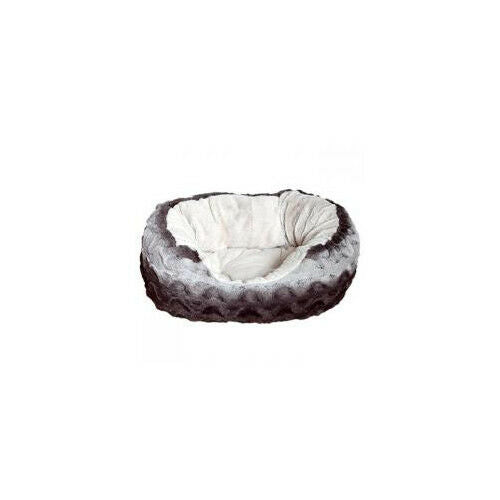 40 Winks Snuggle Bed Oval Plush Grey & Cream - Accessories - Dog & Cat Bedding -