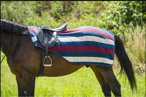 Equi-Theme Navy/Burgundy/Sand Stripe Quarter Sheet