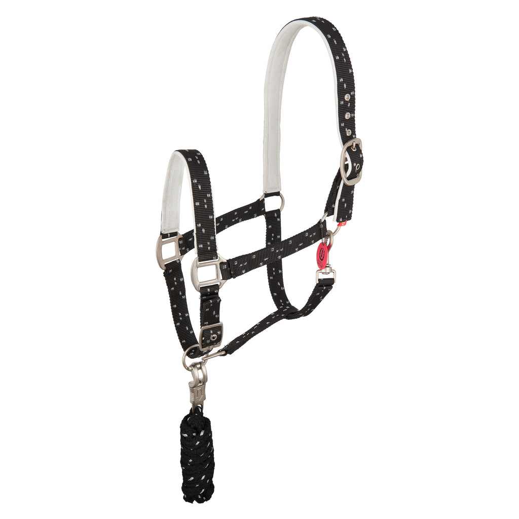 Imperial Riding Headcollar And Rope Panic Party Black