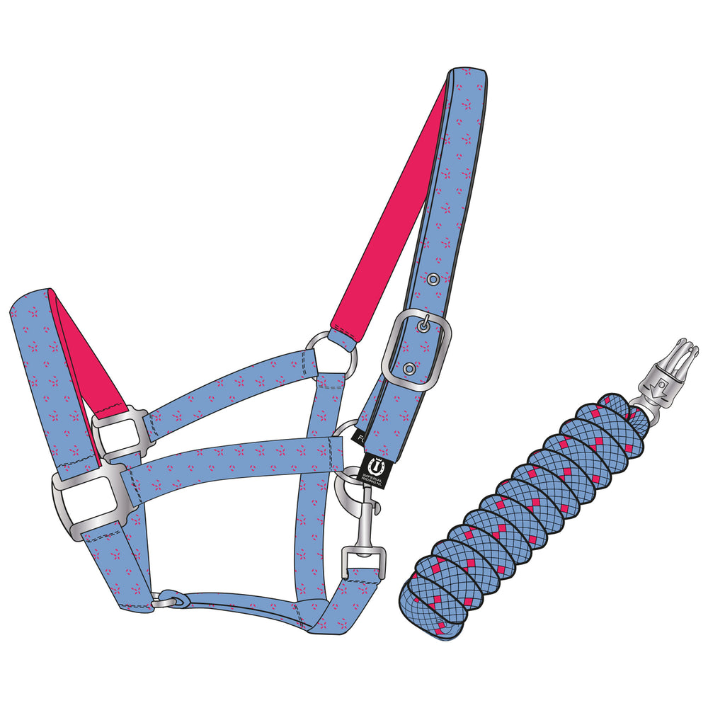 Imperial Riding Headcollar And Rope Panic Party Blue